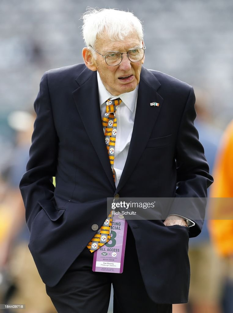 <a gi-track='captionPersonalityLinkClicked' href=/galleries/search?phrase=Dan+Rooney&family=editorial&specificpeople=725695 ng-click='$event.stopPropagation()'>Dan Rooney</a>, owner of the Pittsburgh Steelers walks the sidelines before the start of a game against the New York Jets at MetLife Stadium on October 13, 2013 in East Rutherford, New Jersey.