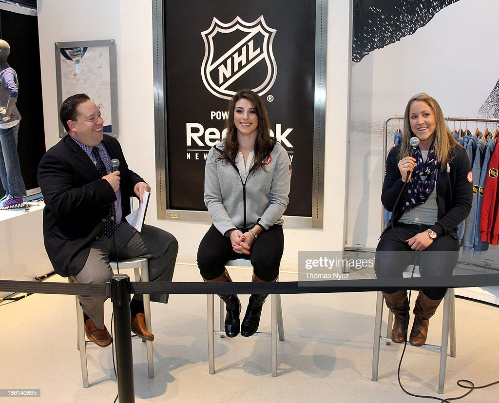 Dan Rosen of NHL.com interviews U.S. Women's National Hockey Team forwards <a gi-track='captionPersonalityLinkClicked' href=/galleries/search?phrase=Hilary+Knight+-+Hockey+Player&family=editorial&specificpeople=6718401 ng-click='$event.stopPropagation()'>Hilary Knight</a> and <a gi-track='captionPersonalityLinkClicked' href=/galleries/search?phrase=Meghan+Duggan&family=editorial&specificpeople=4234644 ng-click='$event.stopPropagation()'>Meghan Duggan</a> during an appearance at the NHL Powered by Reebok Store on October 28, 2013 in New York City. The U.S. Women's team is in New York City as part of the U.S. Olympic Committee's '100 Days Out' celebration for the 2014 Olympic Winter Games.