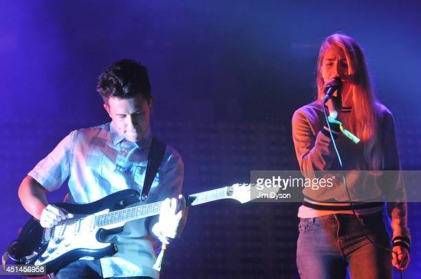 Dan Rothman and Hannah Reid of London Grammer perform on the John Peel Stage during day three of the Glastonbury Festival at Worthy Farm in Pilton on...