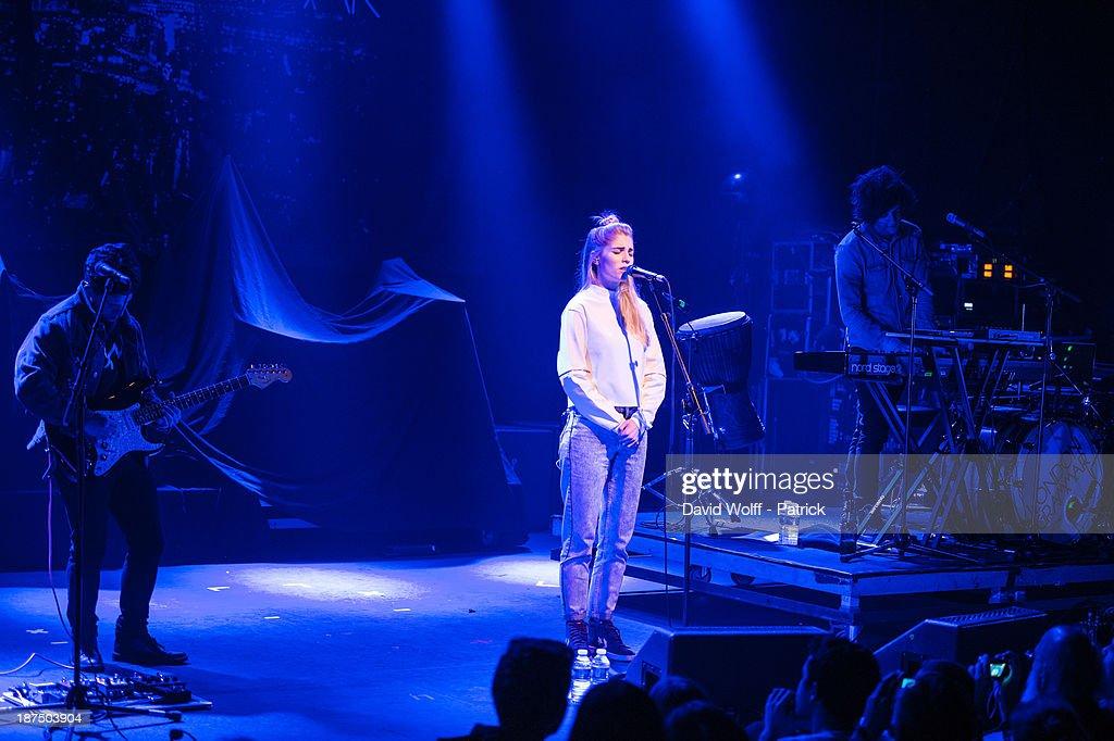 Dan Rothman, Hannah Reid and Dot Major from London Grammar perform during Les Inrocks Festival at La Cigale on November 9, 2013 in Paris, France.
