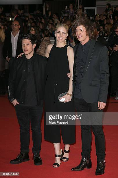 Dan Rothman Hannah Reid and Dot Major of 'London Grammar' arrive to attend the '16th NRJ Music Awards 2014' ceremony at Palais des Festivals on...