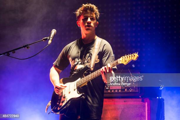 Dan Rothman of London Grammar performs on stage for Festival No6 on September 5 2014 in Portmeirion United Kingdom