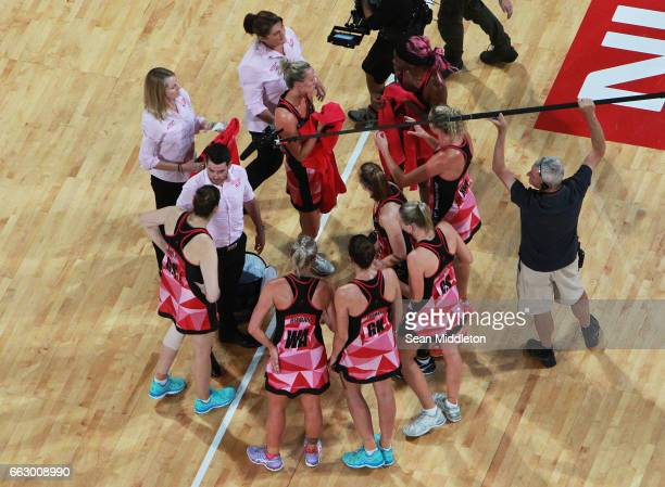 Dan Ryan coach of Thunderbirds during the round seven Super Netball match between the Fever and the Thunderbirds at Perth Arena on April 1 2017 in...