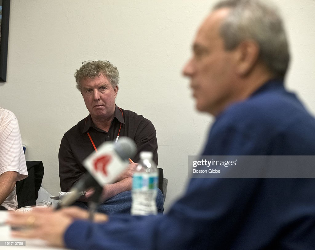 Dan Shaughnessy, a Boston Globe sports columnist during a press conference with Larry Lucchino, President and CEO of the Boston Red Sox. Day three of spring training at the Red Sox training facilities at JetBlue Park on Thursday, Feb. 14, 2013.