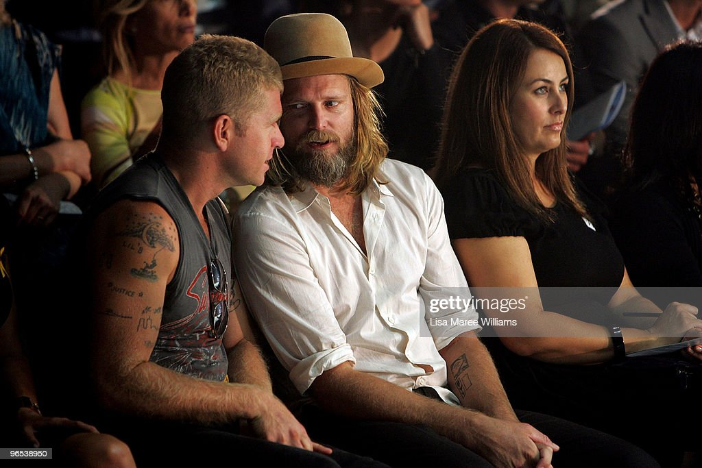 Dan Single and George Corow of Ksubi sit in the front row during the David Jones Autumn/Winter 2010 Fashion Launch at the Hordern Pavilion on...