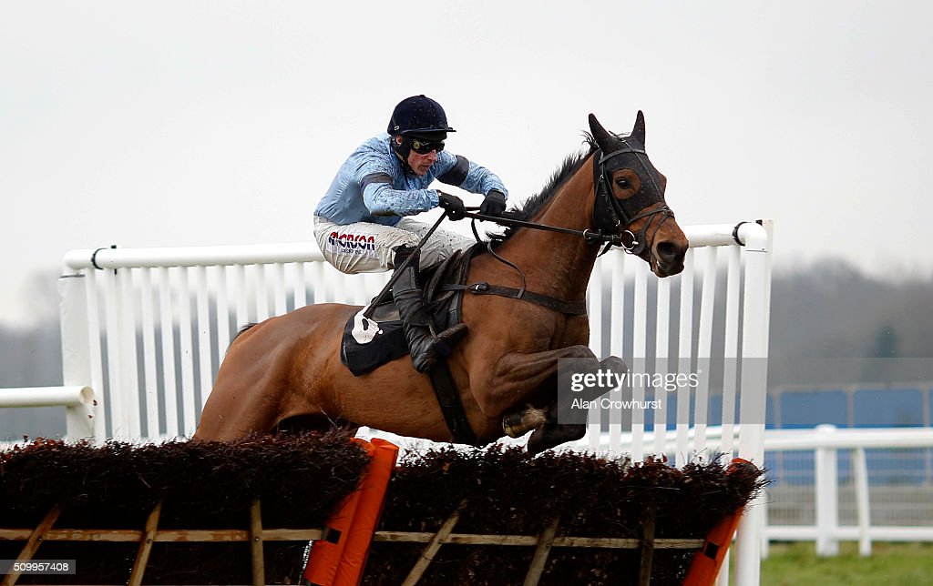Dan Skelton riding Meet The Legend clear the last to win The Read Paul Nicholls Exclusively At Betfair Novices' Hurdle Race at Newbury racecourse on February 13, 2016 in Newbury, England.