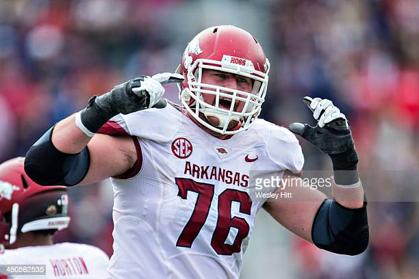 Dan Skipper of the Arkansas Razorbacks yells toward the sideline during a game against the Ole Miss Rebels at VaughtHemingway Stadium on November 9...