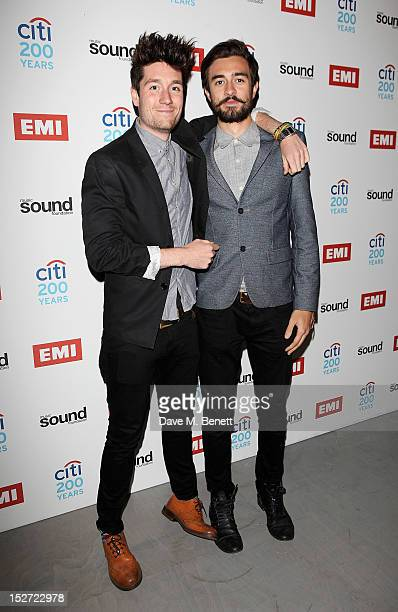 Dan Smith and Kyle Simmons of Bastille arrive at the EMI Music Sound Foundation fundraiser at Somerset House on September 24 2012 in London England