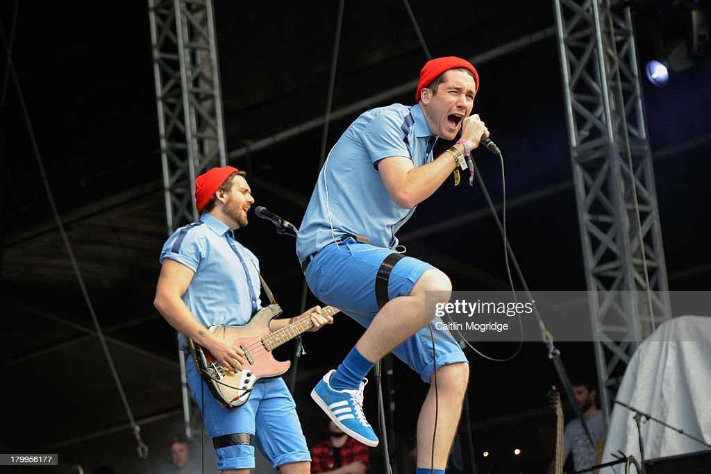 Dan Smith (R) and <a gi-track='captionPersonalityLinkClicked' href=/galleries/search?phrase=Will+Farquarson+-+Musician&family=editorial&specificpeople=10542444 ng-click='$event.stopPropagation()'>Will Farquarson</a> of Bastille perform at Day 3 of Bestival at Robin Hill Country Park on September 7, 2013 in Newport, Isle of Wight