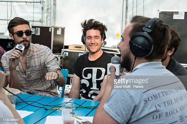 Dan Smith from Bastille is being interviewed by radio station at place de la republique on July 10 2013 in Paris France