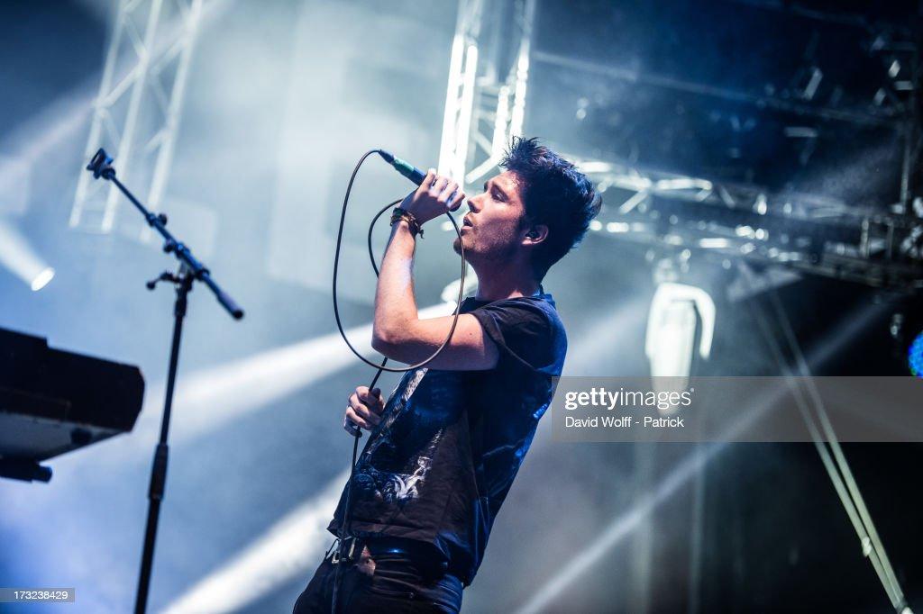 Dan Smith from Bastille performs at place de la republique on July 10, 2013 in Paris, France.