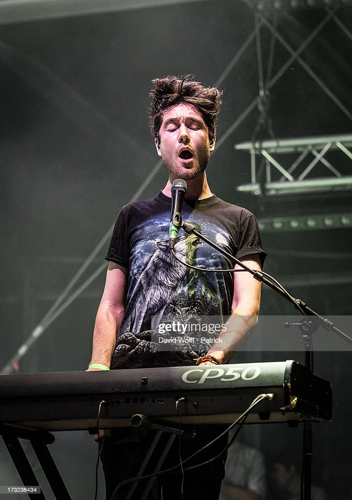 Dan Smith from Bastille performs at place de la republique on July 10, 2013 in Paris, France.