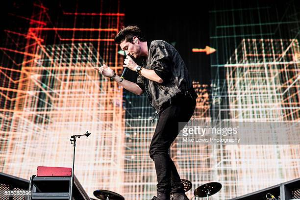 Dan Smith from Bastille performs on stage at Powderham Castle on May 28 2016 in Exeter England