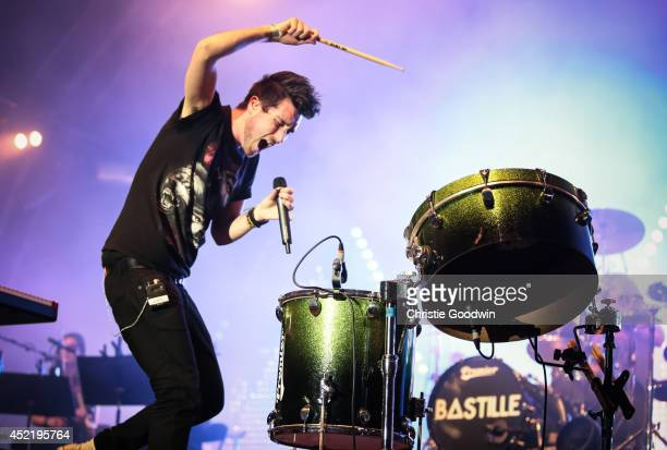 Dan Smith of Bastille performs on stage at Summer Series 2014 at Somerset House on July 15 2014 in London United Kingdom