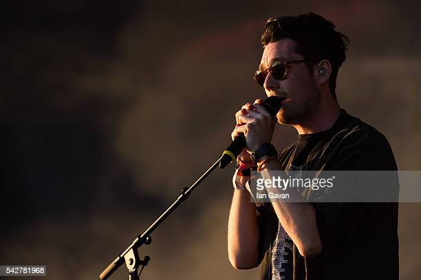 Dan Smith of 'Bastille' performs on the Other Stage during the Glastonbury Festival at Worthy Farm Pilton on June 24 2016 in Glastonbury England Now...