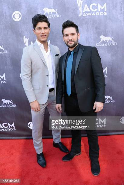 Dan Smyers and Shay Mooney of Dan Shay attend the 49th Annual Academy of Country Music Awards at the MGM Grand Garden Arena on April 6 2014 in Las...