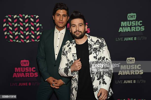 Dan Smyers and Shay Mooney of the musical duo Dan Shay attend the 2016 CMT Music awards at the Bridgestone Arena on June 8 2016 in Nashville Tennessee