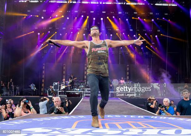 Dan Smyers of Dan Shay perform during day 2 of Faster Horses Festival at Michigan International Speedway on July 22 2017 in Brooklyn Michigan