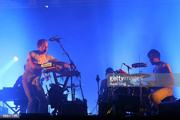Dan Snaith and Brad Weber of Caribou perform on stage for Pitchfork Music Festival at Grande Halle de La Villette on November 1 2014 in Paris France