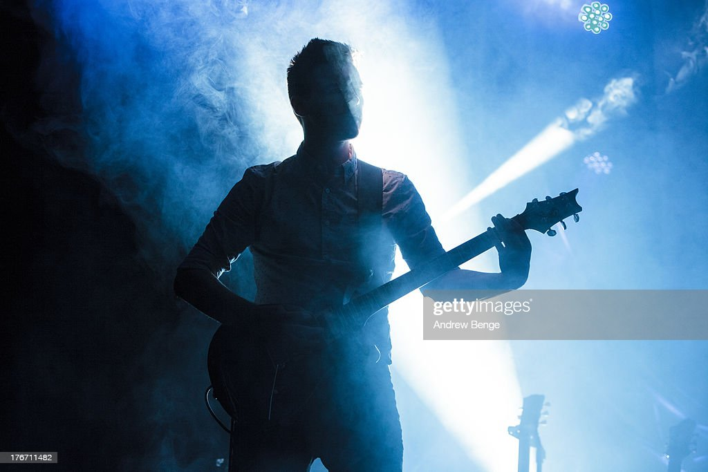 Dan Spedding of Dutch Uncles performs on stage on Day 2 of Beacons Festival at Heslaker Farm on August 17, 2013 in Skipton, England.