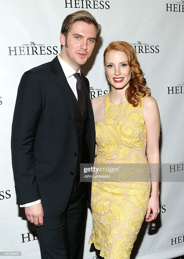 Dan Stevens and Jessica Chastain attend the after party following the Broadway revival opening night of 'The Heiress' at The Edison Ballroom on November 1, 2012 in New York City.