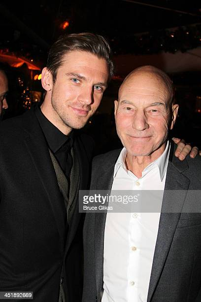 Dan Stevens and Patrick Stewart pose at the 'No Man's Land' 'Waiting For Godot' Opening Night after party at the Bryant Park Grill on November 24...