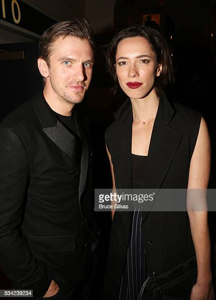 Dan Stevens and Rebecca Hall pose at The Opening Night of MTC's 'Incognito' at Brasserie 8 1/2 on May 24 2016 in New York City