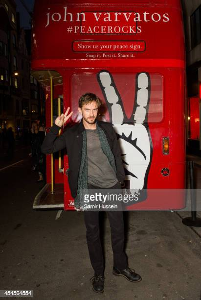 Dan Stevens attends the John Varvatos store launch pictured on the JV Routemaster Bus outside the brand's first European store in London on September...