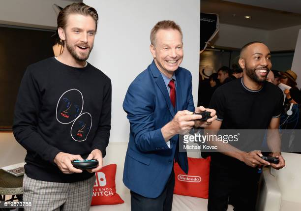 Dan Stevens Bill Irwin and Jeremie Harris from the television series 'Legion' stopped by Nintendo at the TV Insider Lounge to check out Nintendo...