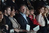 Dan Stevens Chen Kun Russel Crowe Sergio Rubini and Carla Cavalluzzi attend the Giorgio Armani show during Milan Men's Fashion Week Fall/Winter...