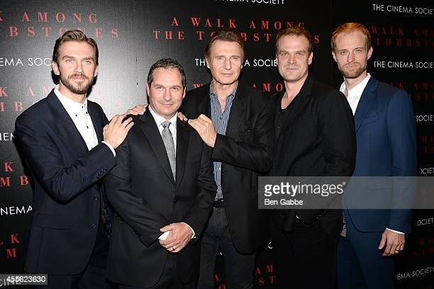 Dan Stevens director Scott Frank Liam Neeson David Harbour and Adam David Thompson attend the Universal Pictures and Cross Creek Pictures with The...