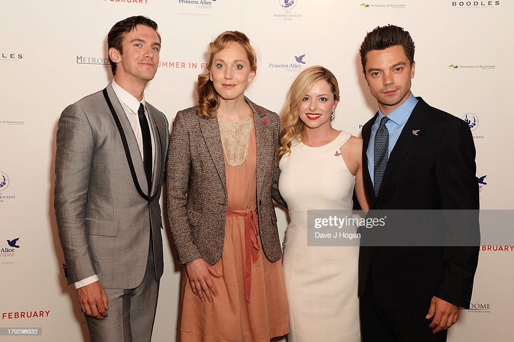 <a gi-track='captionPersonalityLinkClicked' href=/galleries/search?phrase=Dan+Stevens&family=editorial&specificpeople=678756 ng-click='$event.stopPropagation()'>Dan Stevens</a>, Hattie Morahan, Mia Austen and <a gi-track='captionPersonalityLinkClicked' href=/galleries/search?phrase=Dominic+Cooper&family=editorial&specificpeople=863047 ng-click='$event.stopPropagation()'>Dominic Cooper</a> attend a gala screening of 'Summer In February' at The Curzon Mayfair on June 10, 2013 in London, England.