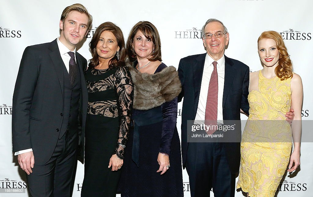 <a gi-track='captionPersonalityLinkClicked' href=/galleries/search?phrase=Dan+Stevens&family=editorial&specificpeople=678756 ng-click='$event.stopPropagation()'>Dan Stevens</a>, <a gi-track='captionPersonalityLinkClicked' href=/galleries/search?phrase=Paula+Wagner&family=editorial&specificpeople=220393 ng-click='$event.stopPropagation()'>Paula Wagner</a>, Roy Furman <a gi-track='captionPersonalityLinkClicked' href=/galleries/search?phrase=Jessica+Chastain&family=editorial&specificpeople=653192 ng-click='$event.stopPropagation()'>Jessica Chastain</a> and guest attend the after party following the Broadway revival opening night of 'The Heiress' at The Edison Ballroom on November 1, 2012 in New York City.