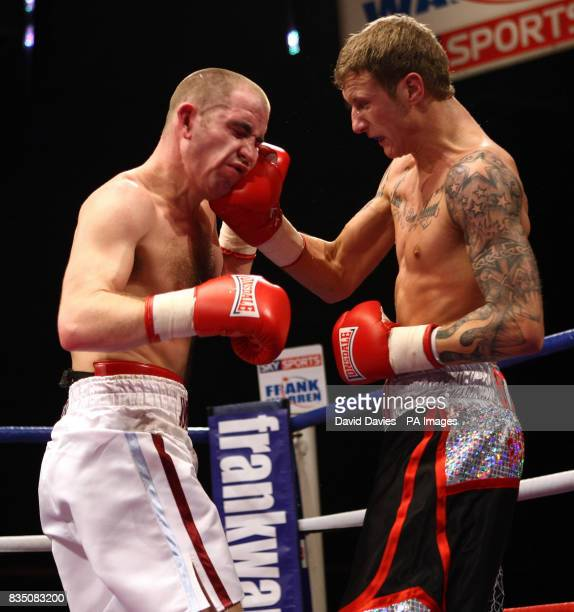 Dan Stewart in action against Johnny Greaves during the Commonwealth LightHeavyweight Championship at the Oasis Leisure Centre Swindon