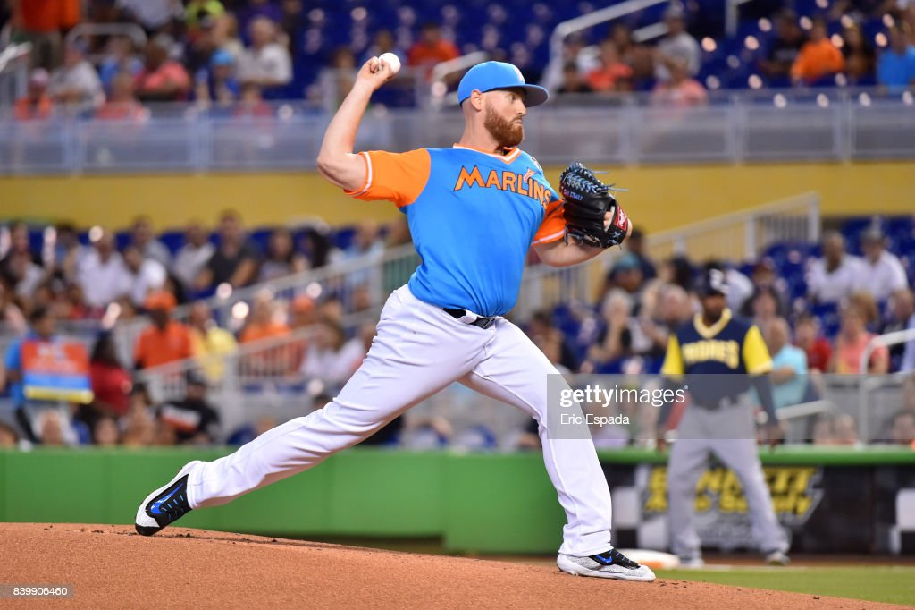 Dan Straily #58 of the Miami Marlins throws a pitch during the first inning against the San Diego Padres at Marlins Park on August 27, 2017 in Miami, Florida.