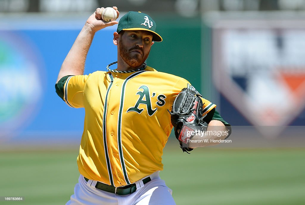<a gi-track='captionPersonalityLinkClicked' href=/galleries/search?phrase=Dan+Straily&family=editorial&specificpeople=9615114 ng-click='$event.stopPropagation()'>Dan Straily</a> #67 of the Oakland Athletics pitches against the Chicago White Sox at O.co Coliseum on June 1, 2013 in Oakland, California.