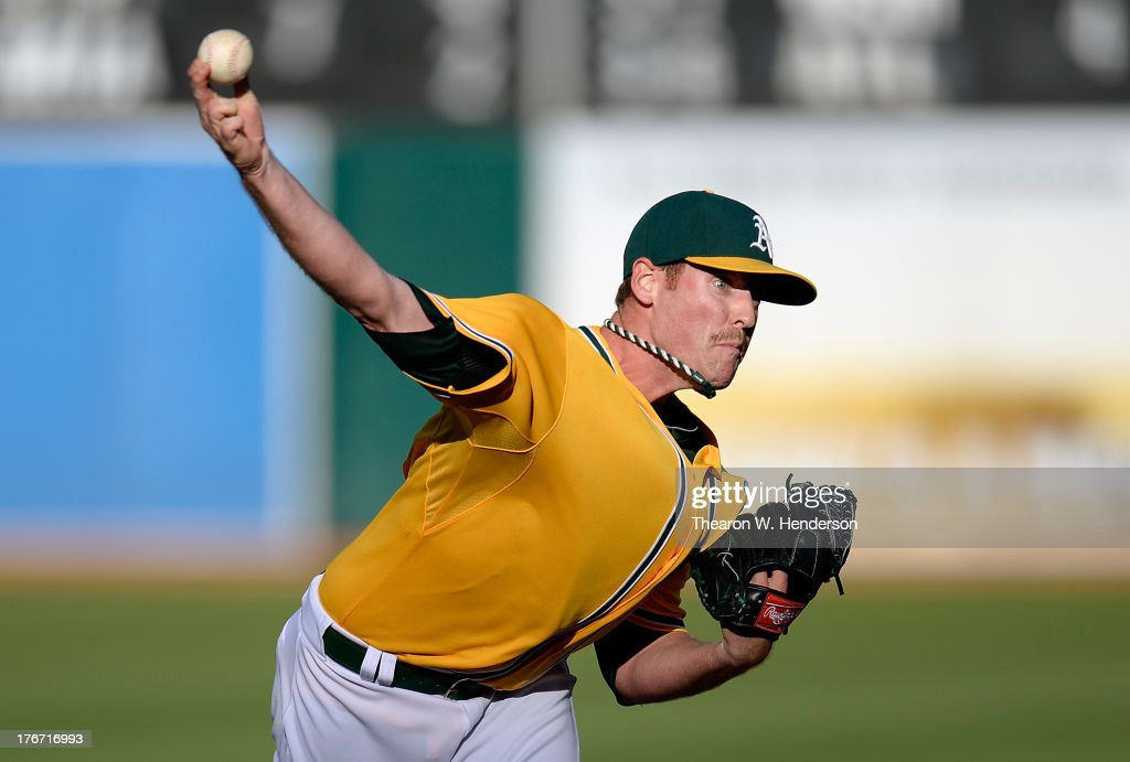 <a gi-track='captionPersonalityLinkClicked' href=/galleries/search?phrase=Dan+Straily&family=editorial&specificpeople=9615114 ng-click='$event.stopPropagation()'>Dan Straily</a> #67 of the Oakland Athletics pitches against the Cleveland Indians at O.co Coliseum on August 17, 2013 in Oakland, California.
