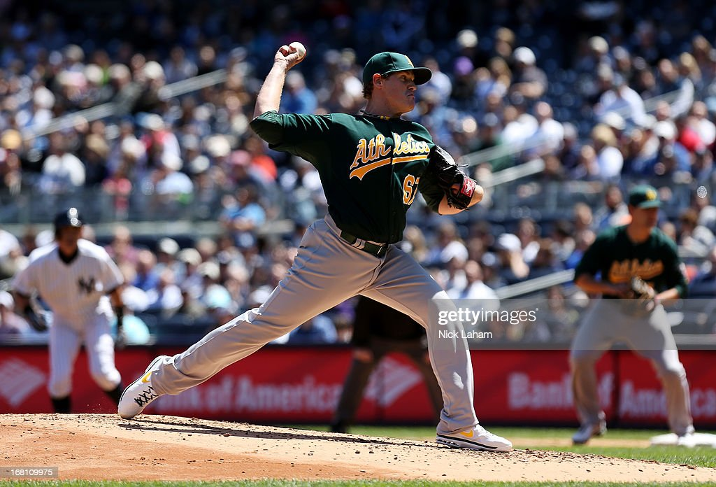 Dan Straily #67 of the Oakland Athletics pitches against the New York Yankees at Yankee Stadium on May 5, 2013 in the Bronx borough of New York City.