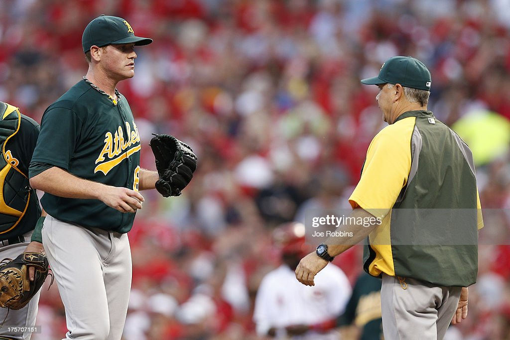 <a gi-track='captionPersonalityLinkClicked' href=/galleries/search?phrase=Dan+Straily&family=editorial&specificpeople=9615114 ng-click='$event.stopPropagation()'>Dan Straily</a> #67 of the Oakland Athletics talks with pitching coach Curt Young during the game against the Cincinnati Reds at Great American Ball Park on August 6, 2013 in Cincinnati, Ohio.
