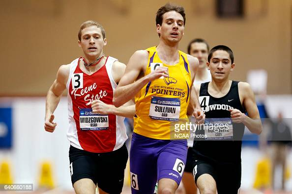 Dan Sullivan of UW Stevens Point leads with Keene State's Ryan Widzgowski and Bowdoin's Coby Horowitz close behind in the 1 Mile Run at the Division...