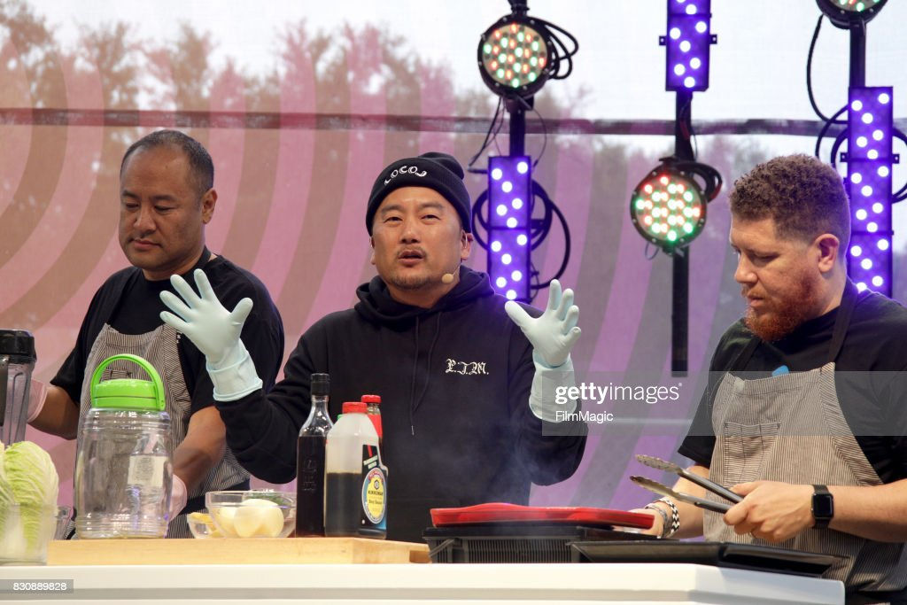 Dan the Automator (L) and Roy Choi cook onstage for KIMCHI 3030 with Roy, Dan, and Del on the Gastro Magic Stage during the 2017 Outside Lands Music And Arts Festival at Golden Gate Park on August 12, 2017 in San Francisco, California.