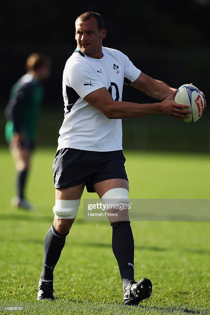 Dan Tuohy runs through drills during an Ireland rugby team training session at Onewa Domain on June 7, 2012 in Takapuna, New Zealand.