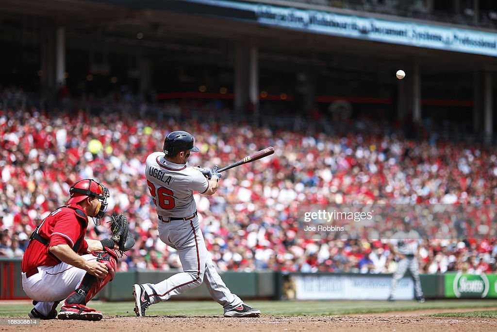 <a gi-track='captionPersonalityLinkClicked' href=/galleries/search?phrase=Dan+Uggla&family=editorial&specificpeople=542208 ng-click='$event.stopPropagation()'>Dan Uggla</a> #26 of the Atlanta Braves hits his second home run of the game in the sixth inning against the Cincinnati Reds at Great American Ball Park on May 8, 2013 in Cincinnati, Ohio. The Braves won 7-2.