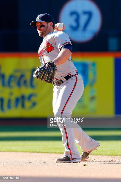 Dan Uggla of the Atlanta Braves in action against the New York Mets at Citi Field on April 20 2014 in the Flushing neighborhood of the Queens borough...