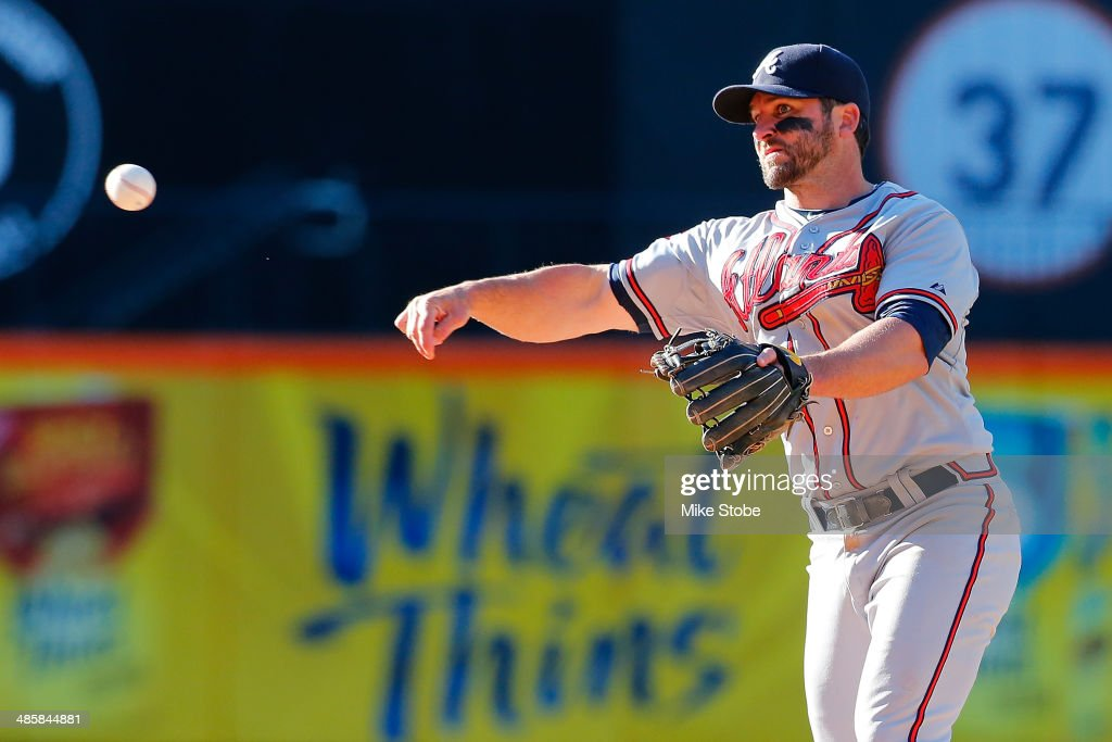 <a gi-track='captionPersonalityLinkClicked' href=/galleries/search?phrase=Dan+Uggla&family=editorial&specificpeople=542208 ng-click='$event.stopPropagation()'>Dan Uggla</a> #26 of the Atlanta Braves in action against the New York Mets at Citi Field on April 20, 2014 in the Flushing neighborhood of the Queens borough of New York City. Mets defeated the Braves 4-3 in the fourteenth inning.