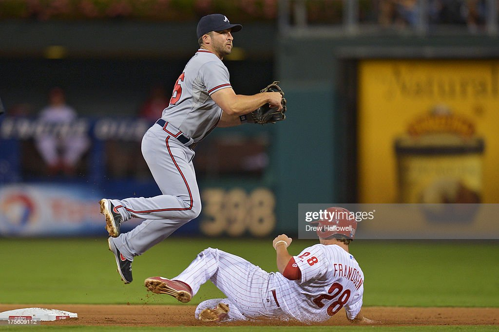<a gi-track='captionPersonalityLinkClicked' href=/galleries/search?phrase=Dan+Uggla&family=editorial&specificpeople=542208 ng-click='$event.stopPropagation()'>Dan Uggla</a> #26 of the Atlanta Braves jumps over <a gi-track='captionPersonalityLinkClicked' href=/galleries/search?phrase=Kevin+Frandsen&family=editorial&specificpeople=3982842 ng-click='$event.stopPropagation()'>Kevin Frandsen</a> #28 of the Philadelphia Phillies on a double play in the seventh inning at Citizens Bank Park on August 4, 2013 in Philadelphia, Pennsylvania. The Braves won 4-1.