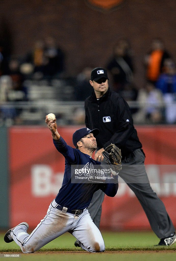 <a gi-track='captionPersonalityLinkClicked' href=/galleries/search?phrase=Dan+Uggla&family=editorial&specificpeople=542208 ng-click='$event.stopPropagation()'>Dan Uggla</a> #26 of the Atlanta Braves throws from his knees to put out Gregor Blanco #7 of the San Francisco Giants in the ninth inning at AT&T Park on May 9, 2013 in San Francisco, California. The Braves won the game 6-3.