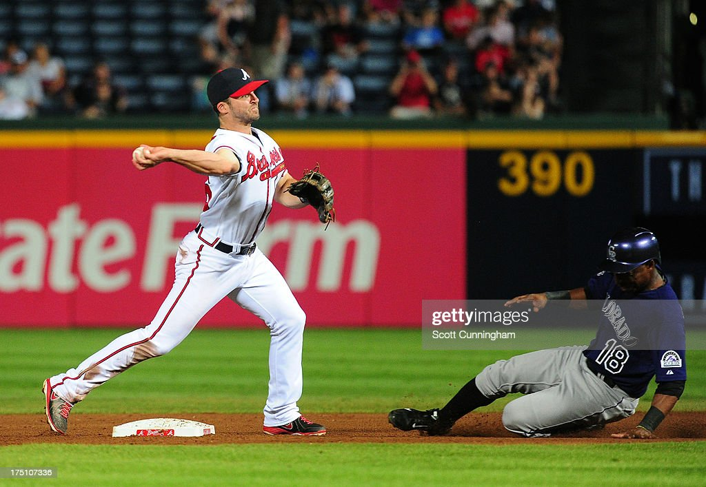 <a gi-track='captionPersonalityLinkClicked' href=/galleries/search?phrase=Dan+Uggla&family=editorial&specificpeople=542208 ng-click='$event.stopPropagation()'>Dan Uggla</a> #26 of the Atlanta Braves turns a double play against <a gi-track='captionPersonalityLinkClicked' href=/galleries/search?phrase=Jonathan+Herrera&family=editorial&specificpeople=4175178 ng-click='$event.stopPropagation()'>Jonathan Herrera</a> #18 of the Colorado Rockies at Turner Field on July 31, 2013 in Atlanta, Georgia.