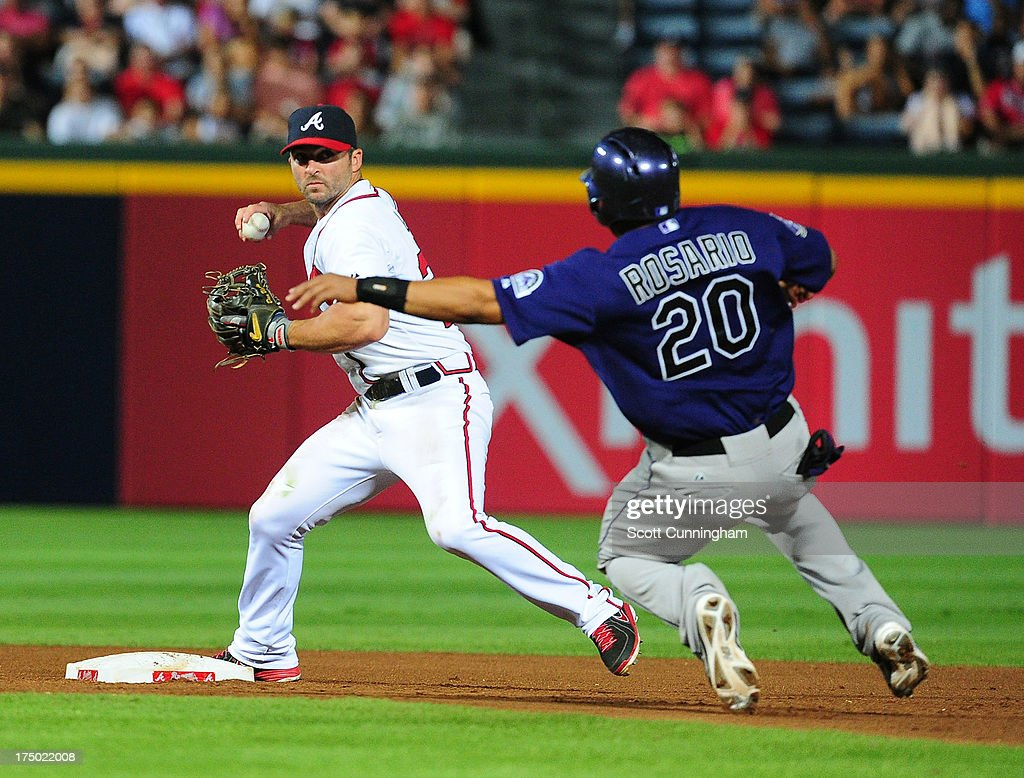 <a gi-track='captionPersonalityLinkClicked' href=/galleries/search?phrase=Dan+Uggla&family=editorial&specificpeople=542208 ng-click='$event.stopPropagation()'>Dan Uggla</a> #26 of the Atlanta Braves turns a double play against <a gi-track='captionPersonalityLinkClicked' href=/galleries/search?phrase=Wilin+Rosario&family=editorial&specificpeople=5734314 ng-click='$event.stopPropagation()'>Wilin Rosario</a> #20 of the Colorado Rockies at Turner Field on July 29, 2013 in Atlanta, Georgia.