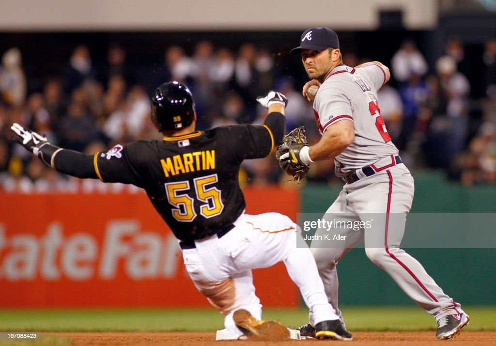 <a gi-track='captionPersonalityLinkClicked' href=/galleries/search?phrase=Dan+Uggla&family=editorial&specificpeople=542208 ng-click='$event.stopPropagation()'>Dan Uggla</a> #26 of the Atlanta Braves turns a double play in the fourth inning against the Pittsburgh Pirates during the game on April 19, 2013 at PNC Park in Pittsburgh, Pennsylvania.